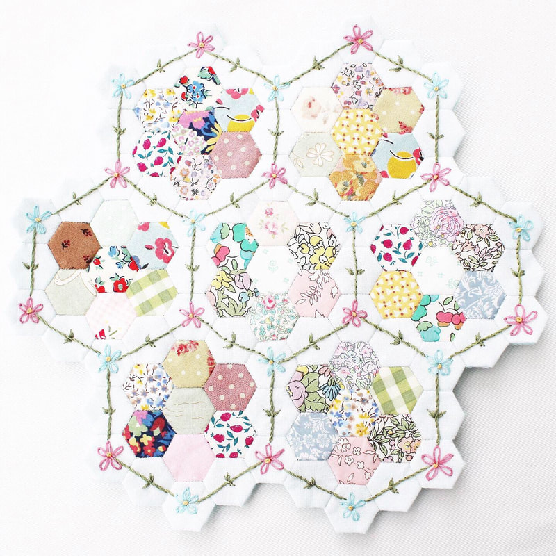 free English paper piecing pattern hexagons embroidery