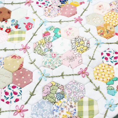 English paper piecing hexagons and embroidery